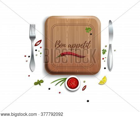 Fork, Knife And Cutting Board. Lettering - Bon Appetit. Kitchen Table Conceptual Design. Vector Illu