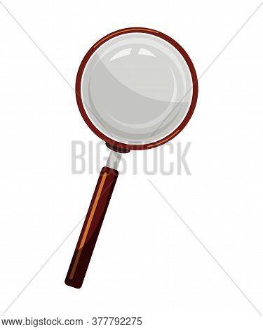 Magnifying Glass Flat Vector Illustration. Scientist Tool, Detective Instrument, Laboratory Equipmen