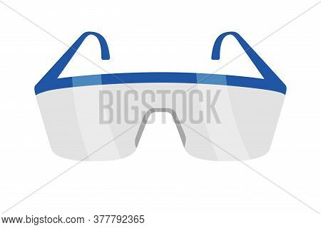 Protective Eyeglasses Isolated On White. Equipment For Work With Chemicals. Plastic Safety Eyewear.