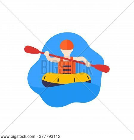 Rafting Icon With Man In Raft, Eps 10 File, Easy To Edit