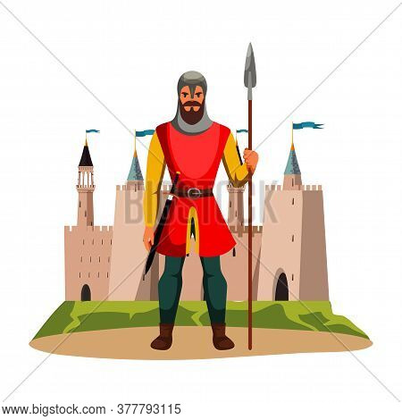Medieval Armed Knight Guard Man Protecting Castle. Armor Guarding Male Character With Spear In Hand