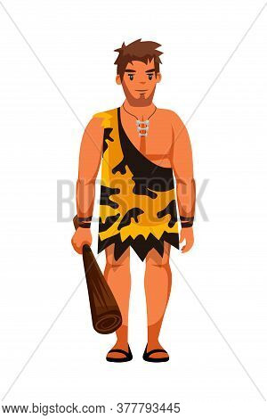 Ancient People Character. Guard Man With Baton. Mythological Creatures Holding Wooden Weapon. Primit