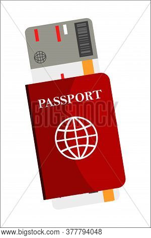 Abroad Travel Documents Vector Illustration. Airplane Ticket, Passport, Boarding Pass Isolated Clipa