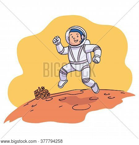 Smiling Boy Astronaut Wearing Spacesuit And Helmet Moving Over Planet Surface. Child Running On Mars