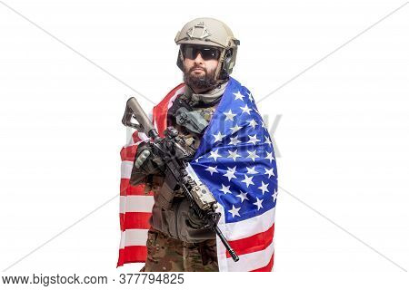 American Soldier In Uniform With Usa Flag On A White Background, Commando With Weapons Hero Of Ameri
