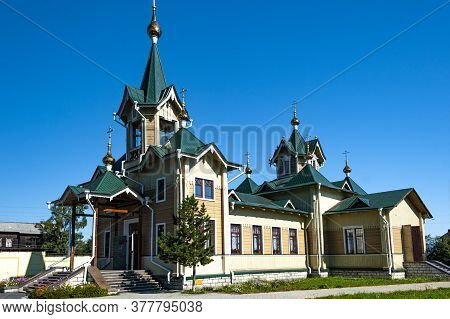 Old Orthodox Wooden Church In The Small Sludianka Town, Located Along The Circum-baikal Railway, A H