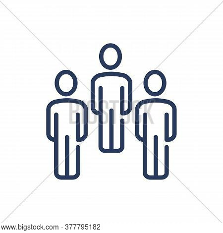 Team Of Three Thin Line Icon. Work Group, Staff, Professionals Isolated Outline Sign. People, Friend