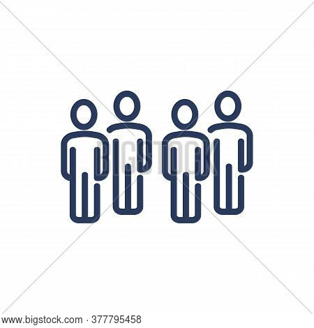 People Thin Line Icon. Row, Team Members, Arrangement Isolated Outline Sign. People, Society, Commun