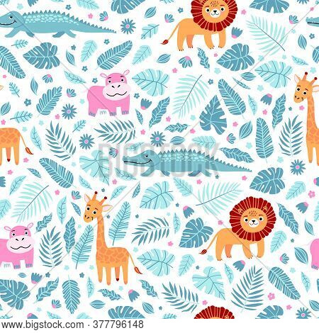 Seamless Pattern Of Wild Exotic Animals Living In Savannah Or Tropical Jungle. Vector Bright Illustr
