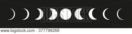 Moon Phases Icons Set On Black Backgound