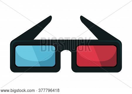 3d Cinema Glasses Vector Illustration. Stereoscopic Goggles Isolated Clipart On White Background. Ey