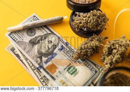 Joint Weed. Marijuana Weed Bud And Grinder. Money Weed. Indica Medical Health. Marijuana Bud And Ban