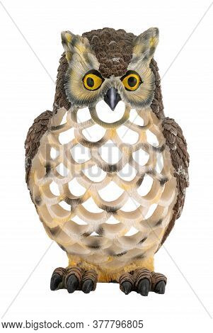 Ceramic Owl Statuette Isolated On White Background