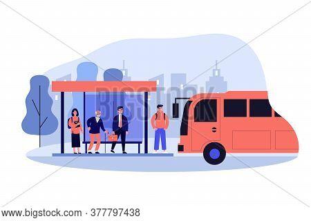 Passengers Standing At Bus Stop. Businessman, Senior Man, Student Waiting Vehicle. Illustration For
