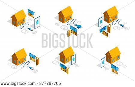 Smart Home Iot Concept Electronics Modern House Vector Isometric Illustrations Set, Smart Security,