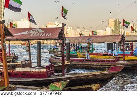 December 2019. Dubai Uae. Boats On Dubai Creek At Al Seef In Dubai Uae