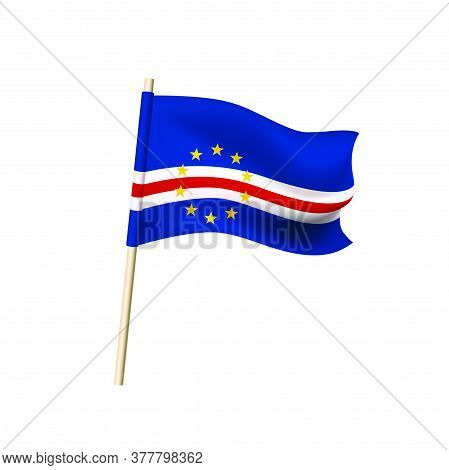Cape Verde (five Horizontal Stripes - Blue, White, Red, White And Blue And Ten Yellow Five-pointed S