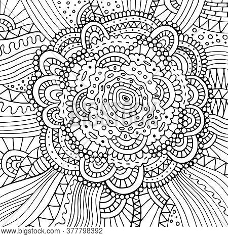 Floral Doodle Trippy Psychedelic Mandala Artwork. Line Black And White Realistic Drawing. Antistress