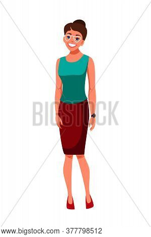 Smiling Young Caucasian Woman Wearing Formal Clothes, Eyeglasses Standing Isolated On White Backgrou