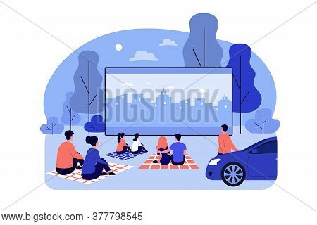 Outdoor Cinema Theater Big Screen. Friends And Dating Couples Watching Open Air Movie At Night. Illu