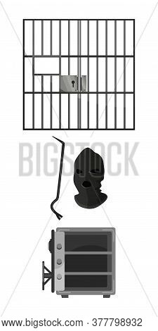Prison Bars, Crowbar, Thief Mask, Open Empty Metal Bank Safe Set Isolated On White Background. Crime