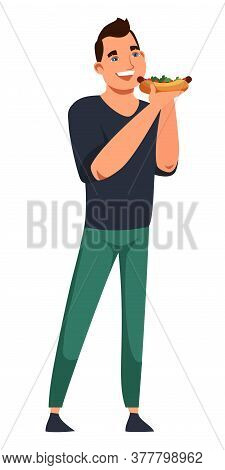 Vector Character Casual Man Eating Hot Dog. Standing Pose Of Front View Guy Isolated On White Backgr