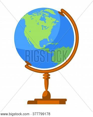 School Planet Earth Spherical Globe Model With World Map Isolated On White Background. Back To Schoo