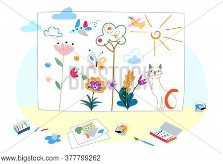 Big Cute Kid Drawing Made By Crayon And Painting. Drawn Cat, Flower, Cloud, Airplane, Tree, Bird, Bu