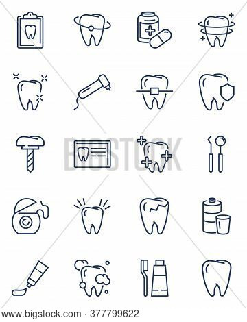 Dental Care Line Icon Set. Healthy Teeth, Cleaning Floss, Dentist Tools, Medical Report, Toothbrush,