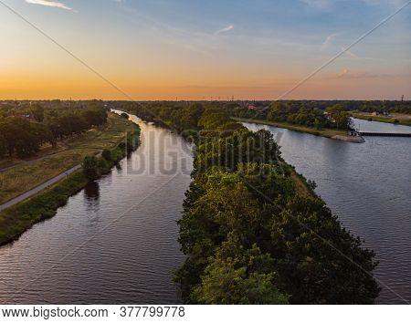 Morning Aerial Cityscape Over Coasts, Islands And Peninsula On Odra River In Wroclaw City