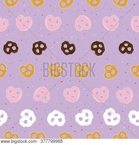 Chocolate Pretzel And Sprinkles Seamless Pattern On Purple Background Design