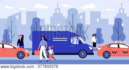 Citizens Walking On Street During Rush Hour. Car, Traffic, People Flat Vector Illustration. Cityscap