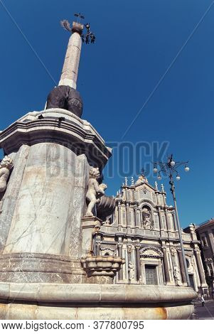the obelisk and the S. Agata baroque cathedral are monument in Catania old town one of the biggest city of Sicily and tourism landmark