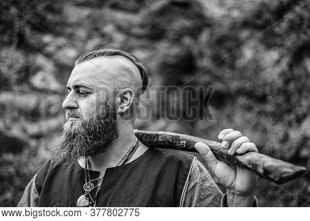 Viking Portrait With Thick Beard