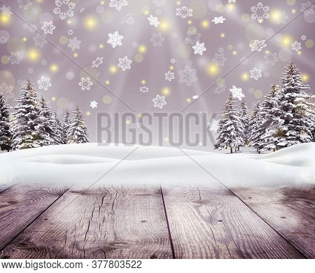 Snow Landscape With Christmas Trees Covered With Snow. Christmas Background With Snowdrifts And Spru