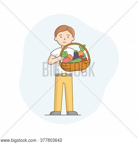 Vegetarianism, Healthy Nutrition Concept. Man Eating Healthy Food. Character Is Holding Basket With