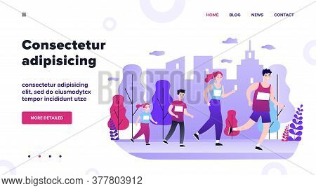 Family Jogging In City Park. Parents And Kids Running Marathon. Vector Illustration For Lifestyle, O