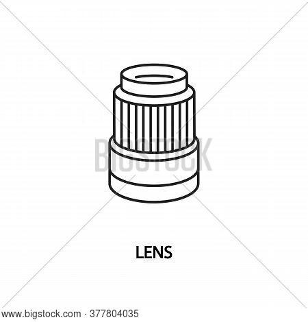 Camera Lens Line Flat Icon. Photo Objective.