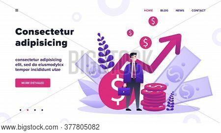 Happy Entrepreneur Waiting For Growth And Success In Work Flat Vector Illustration. Investor Saving
