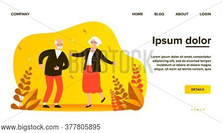 Active Funny Old Couple Dancing At Party. Grandparents Celebrating Anniversary. Vector Illustration