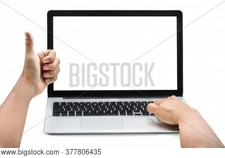 Man Hands On The Laptop,thumbs That Show The Best Meaning Because Of The Excellent Service On The La