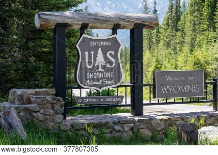Shoshone National Forest, Wyoming - July 2, 2020: Welcome To Wyoming And The Shoshone National Fores