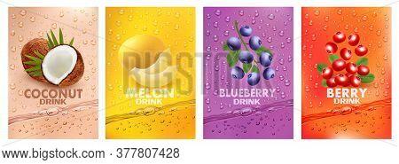 Set Of Labels With Fruit Drink.fresh Fruits Juice Splashing Together- Coconut, Melon, Blueberry, Cra