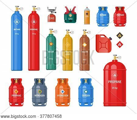 Various Gas Storage Cylinders Flat Icon Set. Oxygen, Nitrogen, Carbon Dioxide, Helium Tanks And Cont