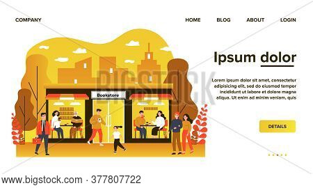 Customers Visiting Bookstore. Buying And Reading Books, Student, Senior People Flat Vector Illustrat