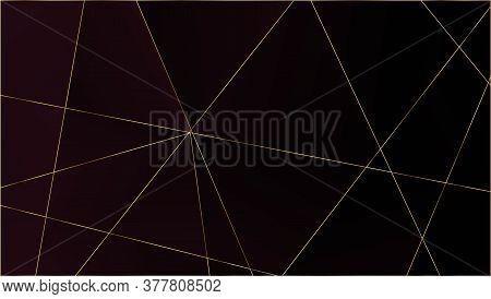 Red Luxury Triangular Texture. Gold Lines Polygon Premium Poster. Rich Silver Vip Geometric Celebrat