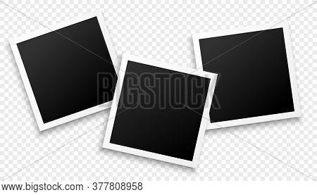 Three Photo Frames On Transparent Background Design