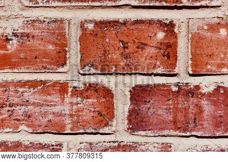 Background Of Old Brick Wall. Front View.