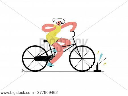 Vector Flat Illustration Young Woman Riding Bicycle. Her Wheel Broke Because Of Sharp Object On The