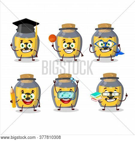School Student Of Dangerous Potion Cartoon Character With Various Expressions